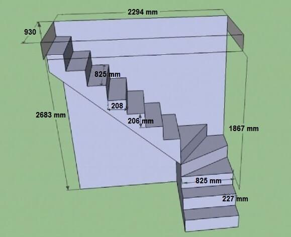 o razmerah betonnyh lestnic